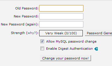 Change password for cPanel step 2